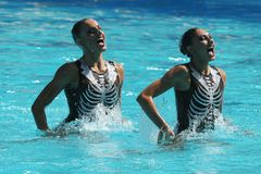 Team Greece in action during synchronized swimming duets free routine preliminary competition of the Rio 2016 Olympic Games. RIO DE JANEIRO, BRAZIL - AUGUST 14 Stock Photo