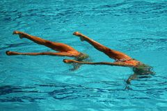 Team Greece en la acción durante la competencia preliminar de la rutina de los dúos de la natación sincronizada libremente de la  Imagen de archivo
