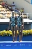 Team Greece na ação durante a competição preliminar da rotina dos duetos da natação sincronizada livre do Rio 2016 Jogos Olímpico Imagens de Stock Royalty Free