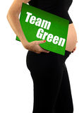 Team green or gender surprise pregnancy concept Stock Photography