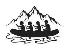 Team, groep mensen, man en vrouwen whitewater rafting silhouet royalty-vrije illustratie