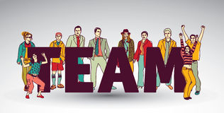 Team group business people and sign. Royalty Free Stock Photography