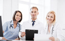 Team or group of doctors on meeting Royalty Free Stock Photography