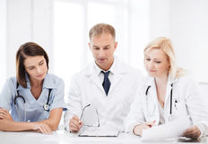 Team or group of doctors on meeting Royalty Free Stock Images