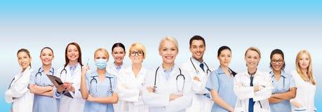 Team or group of doctors and nurses. Medicine and healthcare concept - team or group of doctors and nurses royalty free stock photos