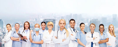 Team or group of doctors and nurses. Medicine and healthcare concept - team or group of doctors and nurses royalty free stock photo