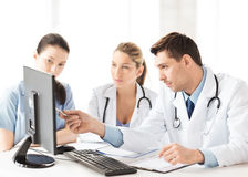 Team or group of doctors working. Picture of young team or group of doctors working Stock Image