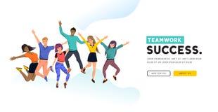 Team Group felice e riuscito illustrazione vettoriale