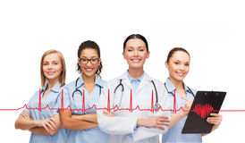 Team or group of female doctors and nurses Stock Photos