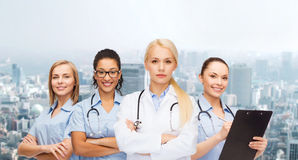 Team or group of female doctors and nurses Royalty Free Stock Image