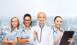Team or group of female doctors and nurses Royalty Free Stock Photos