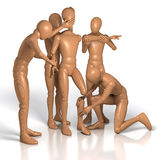 Team, group of figures building new figure out of single parts. Rendering, illustration  on white background Royalty Free Stock Image