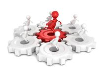 Team group with red leader 3d man run on connected work gears Royalty Free Stock Photography