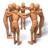 Team, groupe de chiffres, hommes en cercle parlant, discutant, conspiration illustration de vecteur