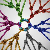 Team Groups Network. As individual diverse teams coming together connected to a central point as an abstract communication concept with linked ropes of Stock Photography