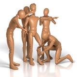 Team, gruppo di figure che sviluppano la nuova figura dalle singole parti Immagine Stock Libera da Diritti