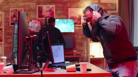 Team of hackers in their centre of operation