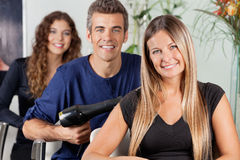 Team Of Hairdressers At Beauty Parlor Stock Images