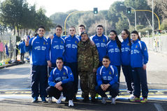 Team of half marathon runners. Posing for a group photograph at the Rome marathon on the 1st of March 2015 Stock Images
