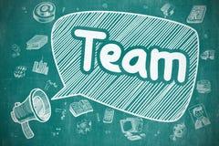 Team - Hand Getrokken Illustratie op Blauw Bord vector illustratie