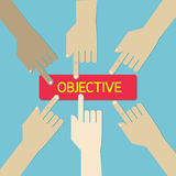 Team hand press business objective botton. Royalty Free Stock Images