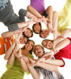A team of happy teenagers on white Stock Image