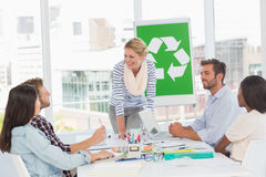 Team having a meeting about recycling policy Royalty Free Stock Image