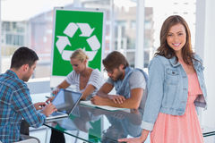Team having meeting about recycling policy stock photos