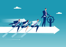 The Team. Head of Group manages team of rowers. Business concept illustration Royalty Free Stock Photo