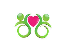Team with a heart logo. Team with a charity heart Stock Photography