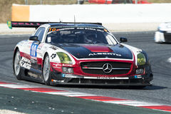 Team HoforRacing Amg gt3 de los sls de Mercedes 24 horas de Barcelona Imagen de archivo