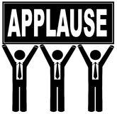 Team holding applause sign. Group of men holding sign up that says applause stock illustration