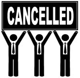 Team holding cancelled sign Stock Images