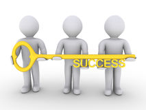 Team is holding key of success. Three 3d people are holding a golden key of success Stock Photos