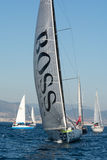 Team Hugo Boss. Boat and Barcelona City Background. Barcelona World Race Royalty Free Stock Photography