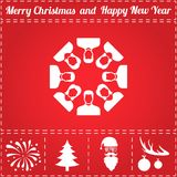 Team Icon Vector. And bonus symbol for New Year - Santa Claus, Christmas Tree, Firework, Balls on deer antlers Royalty Free Stock Photos