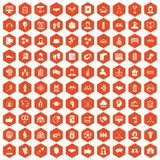 100 team icons hexagon orange. 100 team icons set in orange hexagon isolated vector illustration Royalty Free Stock Photos