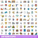100 team icons set, cartoon style Royalty Free Stock Images
