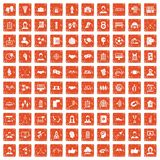 100 team icons set grunge orange. 100 team icons set in grunge style orange color isolated on white background vector illustration Royalty Free Stock Photo