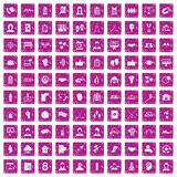 100 team icons set grunge pink. 100 team icons set in grunge style pink color isolated on white background vector illustration Royalty Free Stock Image