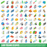 100 team icons set, isometric 3d style Royalty Free Stock Photography