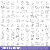 100 team icons set, outline style Royalty Free Stock Photography