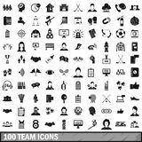 100 team icons set, simple style. 100 team icons set in simple style for any design vector illustration Stock Photography
