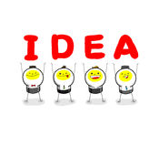 Team of idea. After permutations,the I, D, E, A could becomea word IDEA Royalty Free Stock Photos