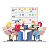 Team il lavoro insieme su una giovane impresa grande dell'IT Riunione di programmazione di strategia Bordo di compito di MISCHIA  illustrazione vettoriale