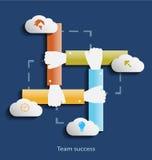 Team il modello piano di concetto di progetto di successo con le icone Fotografie Stock
