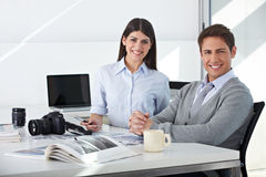 Team in image editing department. Sitting in their office Royalty Free Stock Image