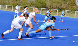 Team India defeated Belarus by 2-1 in women's Hockey. The Indian women's hockey team defeated Belarus by 2-1 in second match, during the 5 match test series Royalty Free Stock Image