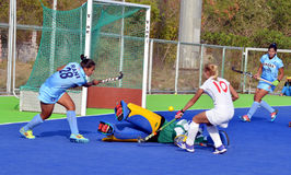 Team India defeated Belarus by 2-1 in women's Hockey. The Indian women's hockey team defeated Belarus by 2-1 in second match, during the 5 match test series Royalty Free Stock Images