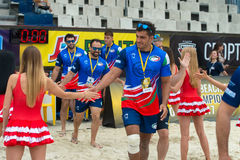 Team Italy goes on the field. MOSCOW, RUSSIA - JULY 22-23, 2017: Rugby players in action at the on European Beach Fives Rugby Championship 2017 at the stadium of Stock Image
